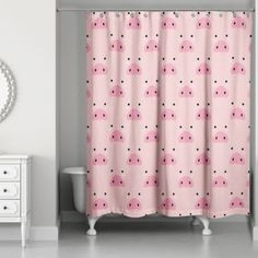 Add a fun touch throughout your home with the whimsical Pig Face Friend Collection from Designs Direct. Made of softened, water-resistant polyester, the Shower Curtain protects your floors from shower sprays and brings a smile to everyone's face. Plywood Furniture, Crate Furniture, Modern Furniture, Furniture Design, Pig Baby Shower, Pig Kitchen, Pig Ears, Cute Bedding, Baby Pigs