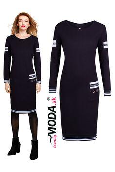 Trendy športovo-elegantné čierne dámske šaty s kontrastným lemovaním na spodnom okraji a rukávoch Trendy, Dresses For Work, Sport, Fashion, Moda, Deporte, Fashion Styles, Sports, Fashion Illustrations