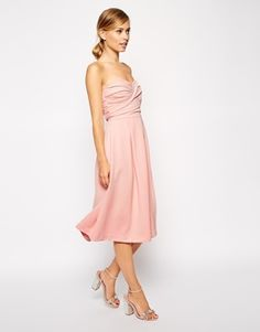 ASOS Bandeau Midi With Twisted Bodice Dress - Pink