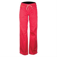 La Sportiva Kalymnos Pant - Women's Berry Medium. STRETCH MATERIAL-Beat the heat with lightweight, breathable cotton twill. Constructed with Lycra for added stretch and comfort, these pants are cut for movement whether it be hiking or climbing. FLEXIBILITY-The adjustable waistband allows for easy high-stepping and heel-hooking maneuvers without restriction. The articulated knee feature further increases flexibility and range of motion. USEFUL FEATURES-The comfort waist is simple and...