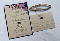 Rustic Wedding Invitation, Floral Wedding Invitation, Kraft Wedding Invitation, Boho, Rustic Wedding Invitation, This beautiful Rustic Boho