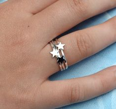 Sterling Silver Star Rings Trio tiny star by SilverBirdJewellery, $50.00