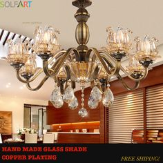 TD8002 antique bronze copper finish metal iron frame handmade glass shade luxury crystal chandeliers lights handing lamp