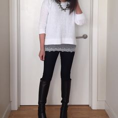 Banana Republic Textured Swing Pullover, LOFT Grey crystal leaf necklace (sold out), LOFT Outlet lace hem tee, Banana Republic Indigo legging jeans, Tory Burch Sullivan boots. www.liketk.it/YMvu