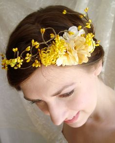 Yellow autumn head crown on Etsy