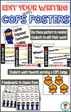 $ COPS editing resource. Help students remember to Capitalize; Punctuate; Organize their writing; and check for Spelling!! Posters, bookmarks and badges are included in this resource!!