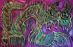 """""""Felino spettrale"""" 2013 Tecnica mista su cartoncino 38x58 ©Pietro Gargano"""