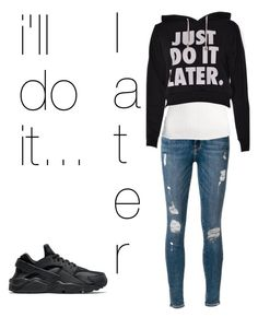"""""""Untitled #83"""" by xsaphronx on Polyvore featuring Frame Denim, H&M and NIKE"""