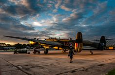 """MK VII Avro Lancaster Bomber """"Just Jane"""" at East Kirkby airfield at suset. ~ BFD"""