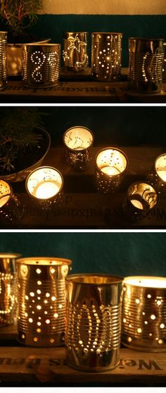 DIY Outdoor Solar Lighting Ideas for Summer Garden Tin Can Lanterns Diy Candle Holders, Diy Candles, Outdoor Candle Holders, Small Candles, Beeswax Candles, Ideas Candles, Candle Wax, Backyard Lighting, Outdoor Lighting