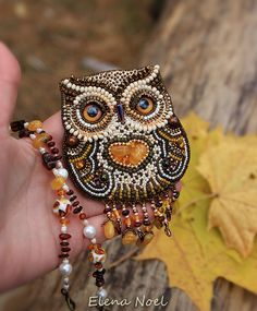 Little autumn amber owl. Beaded necklace with owl. от ElenNoel