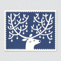 Reindeer card designed by Lisa Jones. Offset printed on recycled card. Teamed with FSC accredited envelope and supplied in compostable cello wrap. Diy Christmas Cards, Christmas Images, Xmas Cards, Christmas Art, Reindeer Christmas, Simple Christmas, Stamp Printing, Screen Printing, Gravure Illustration