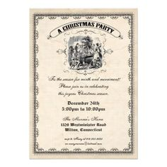 Old Fashioned Victorian Christmas Party Invitation