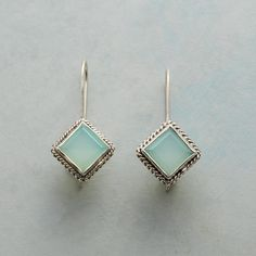 """FERN POND EARRINGS -- Light gently filters through squares of soft green chalcedony, elegantly framed in roped and beaded sterling. Sterling silver wires. Exclusive. 1-1/4""""L."""