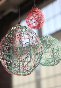 Use different colored string for a decorative fixture.