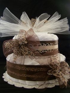 2 tier Cheetah Diaper Cake. So cute for baby showers. <3