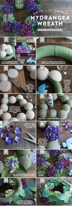 Diy Paper Hydrangea Wreath Tutorial