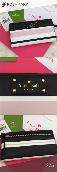 "Kate Spade Stacy Wallet blkmulti KATE SPADE LAUREL WAY STACY WALLET   Brand new with tag $119  Color: Black/ Multi  Style: WLRU3145   Details  One ID holder, 12 credit cards slots, 4 open pockets  Medium wallet with snap closure  Exterior - back zip pocket  Size: 6.75"" (L) x 3.75"" (H) kate spade Bags Wallets"