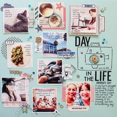 #papercraft #Scrapbook #layout. Day in the life page - take photos throughout day, print in collage format, trim and make layout