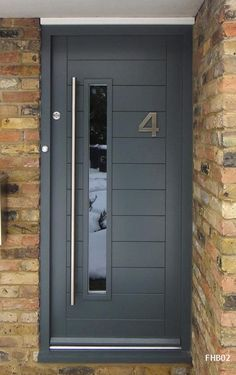 Grey Exterior Doors Contemporary Front Door Framed Horizontal Boarded Doors And Style Painting Front Door Porch, Grey Front Doors, Modern Front Door, House Front Door, Front Door Design, Front Door Colors, The Doors, Entrance Doors, Windows And Doors