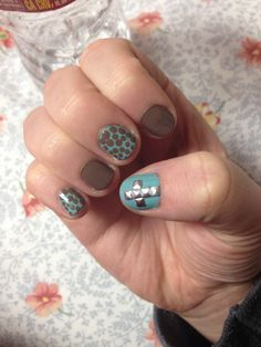 Cross nail design with polka dots!