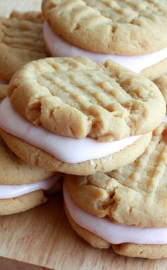 Peanut Butter and Jelly Sandwich Cookies with Strawberry Marshmallow Cream Cheese Filling