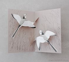 Pop-up card illustrated & designed by Atsuko Yukawa of Japan. The card opens to reveal two beautiful White Wagtails gliding in the sky.