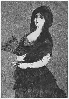 "Edouard Manet ""Lola de Valence"" 1862 etching and aquatint. Superb etching- good example of aquatint."