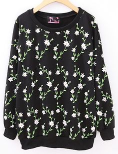 Black Green Leafs Flowers Print Round Neck Pullover - Sheinside.com