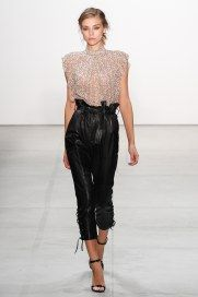 Runway Report NYFW   Spring 2017 RTW   Marissa Webb   Metallic nude high neck top with high-waisted black leather cropped pant   The Luxe Lookbook