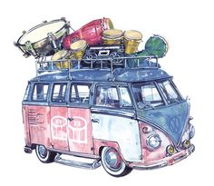 Vw Microbus loaded up with band equipment by Felicia H