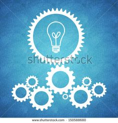 Business concept design with gears on blue background