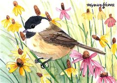 ACEO+Limited+Edition++Chickadee+in+wild+flowers+in+by+annalee377,+$4.00