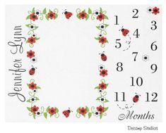 BABY MILESTONE BLANKET Girl Month Red Ladybug Growth Tracker Photo Prop