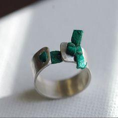 Silver Ring - Sterling Silver Ring - Silver and Leather Ring - Silver Band - Silver Band Ring -  EcoFriendly Repurposed - Spring Irish R4066