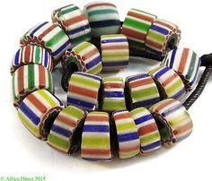 20-Chevron-Venetian-Trade-Beads-Rainbow-Loose-Africa
