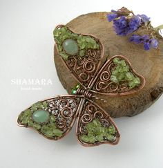 Wirewrapped copper brooch, green brooch with chrysolite, butterfly wire brooch, wirewrapped butterfly brooch, natural stones, jewelry by ShamaraHandmade on Etsy