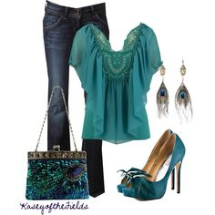 """""""Peacock 2"""" by kaseyofthefields on Polyvore  with dark navy jeans peacock colored heels and peacock teal gauze top with peacock earrings and peacock beaded purse"""