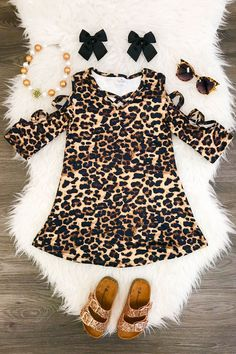 Chelsea Cheetah Open Sleeve Dress - Sparkle in Pink Little Girl Outfits, Cute Outfits For Kids, Toddler Outfits, Baby Girl Fashion, Kids Fashion, Baby Couture, Cute Baby Girl, Baby Kids Clothes, Stylish Kids