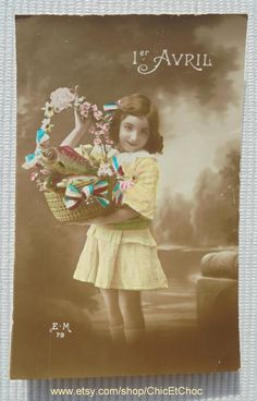 Vintage French Postcard - Girl with a Basket of Fish & Flowers (Poisson D'Avril / April 1st) by ChicEtChoc on Etsy
