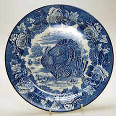 Vintage Woods blue & white china Turkey plate circa 1931