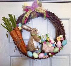Check out this #DIY #Easter wreath idea with #EasterBunny and carrots. Love it! #HomeDecorIdeas @istandarddesign