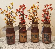 Cow Prim Upcycled Bottles. Housewarming Gift. by CraftsByJoyice