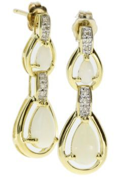 14K Opal Diamond Drop Earrings