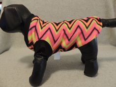 X Small Fleece Dog T Shirt Fluorescent Chevron by favorite4paws on Etsy