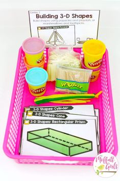 Geometry fun for first grade! Build 3D shapes using play dough and toothpicks or marshmallows and pipe cleaners! Plus, 21 more math centers and tons of worksheets to teach geometry and fractions in 1st grade!