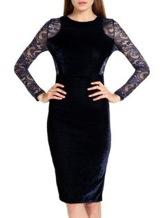 Patchwork Tight Fittted Lace Long Sleeve Bodycon Dress Midi Dress on buytrends.com