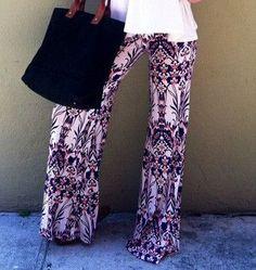 Hot Sale Summer Women Pants Casual High Waist Flare Wide Leg Long Pants Palazzo Trousers Floral Plus Size Classic Pant Preppy