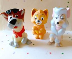 Vintage McDonalds Happy Meal Toys - Disneys Oliver and Company, 3 in the Collection ( Safe Finger Puppets)