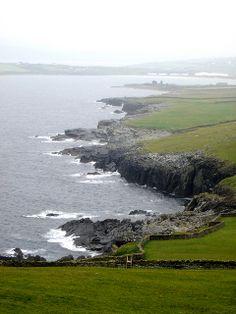 The jagged coast of the Shetland Mainland seen from Sumburgh Head (Scotland).